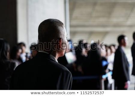 Vücut bekçi kulaklık takım elbise güneş gözlüğü kırmızı halı Stok fotoğraf © pcanzo