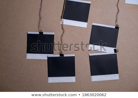 Polaroid photo frame set with clip isolated on white Stock photo © fotoscool