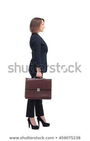Profiel zakenvrouw glimlachend lopen aktetas witte Stockfoto © wavebreak_media