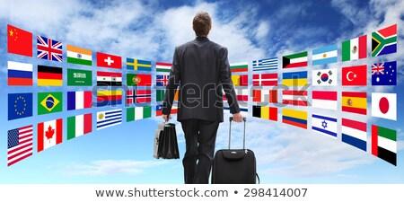 Global hotel servicio mano humana campana azul Foto stock © Lightsource