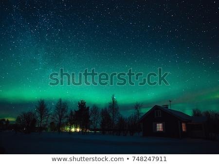Tél éjszaka Svédország tájkép fülke kunyhó Stock fotó © vichie81