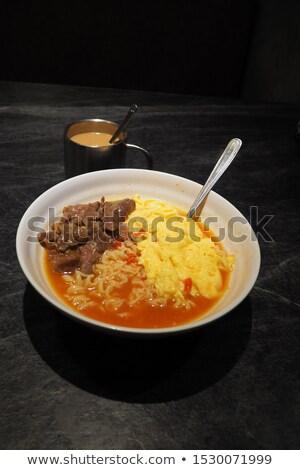 Hongkong śniadanie mleka jaj mięsa natychmiastowy Zdjęcia stock © kawing921