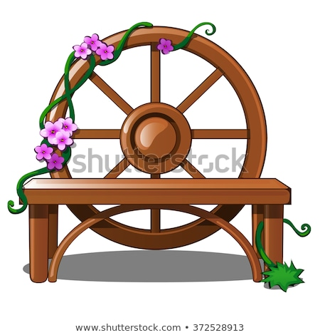 Rural garden decorated with cart wheels Stock photo © backyardproductions