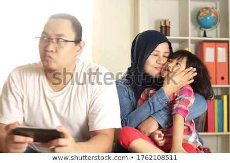 お父さん しかめっ面 娘 小さな 父 ストックフォト © doupix