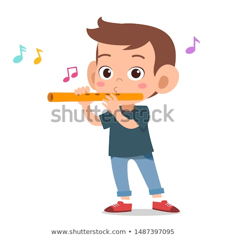 Boy blowing a flute Stock photo © zzve