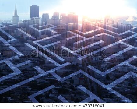 Escapar concreto labirinto verde fogo assinar Foto stock © silkenphotography
