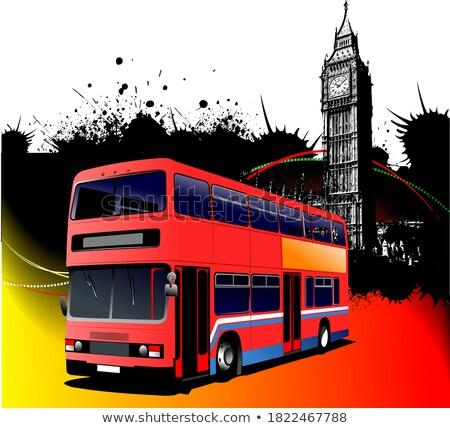 Grunge Londres doubler rouge bus Photo stock © leonido
