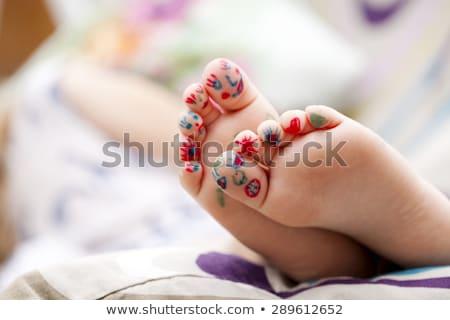 Voet kind kleurrijk geschilderd vinger verf Stockfoto © gewoldi