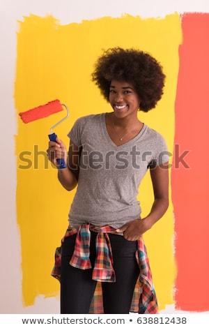 Fiatal boldog nő ecset munka terv Stock fotó © luckyraccoon
