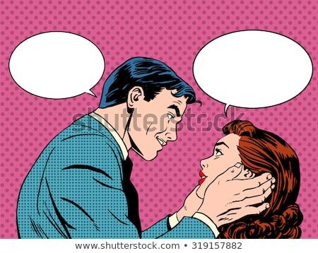 Adam kadın sevmek çift pop art komik Stok fotoğraf © balasoiu