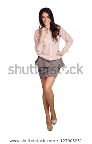 meisje · Geel · jurk · groene · jas · mooie - stockfoto © amok