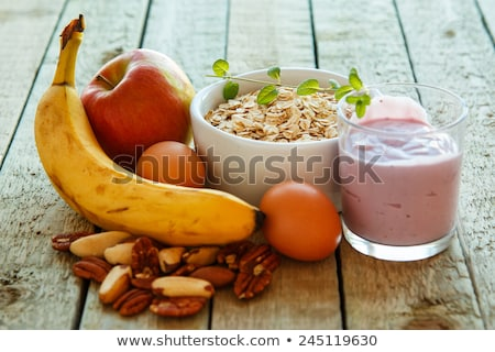 ストックフォト: 健康 · 朝食 · ヨーグルト · ブルーベリー · ガラス · 布