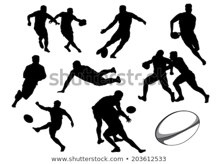 Collection of Rugby Player Silhouettes. Vector illustration Stock photo © leonido