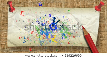 Wrinkled Paper with push pins to fiber board Stock photo © ankarb
