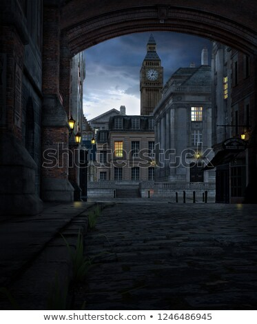 Eski bölge gece yatay stilize Stok fotoğraf © tracer