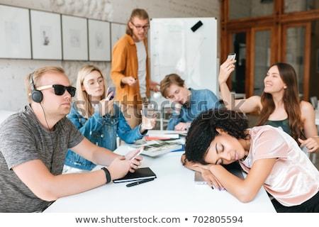 megbeszélés · terv · portré · kettő · fiatal · nők · munkahely - stock fotó © hasloo