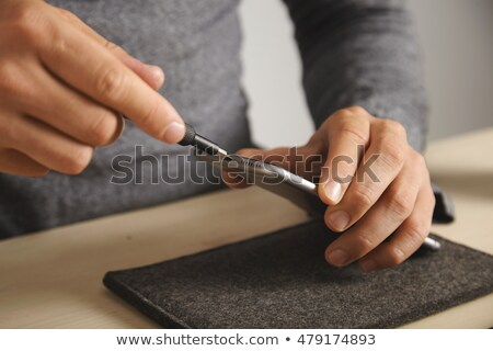 computer · onderdelen · mannelijke · hand · boord · technologie - stockfoto © oleksandro