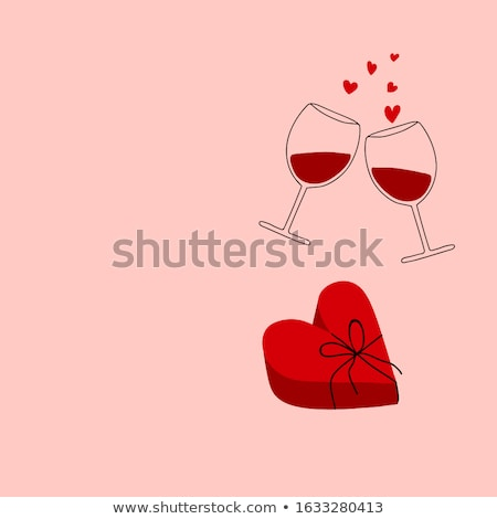 Two glasses  of wine and red heart Stock photo © CaptureLight