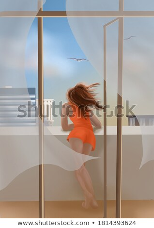 A seagull looking from a rooftop. Stock photo © latent