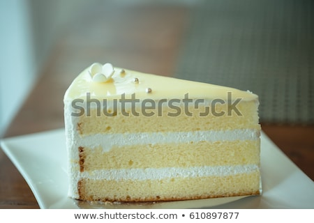 fresh vanilla slice of cake closeup  Stock photo © OleksandrO