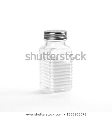 Közelkép só shaker izolált fehér vágási körvonal Stock fotó © ozaiachin