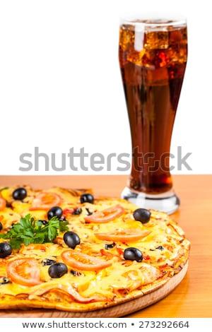 hot fresh pizza and glass of coca cola stock photo © oleksandro