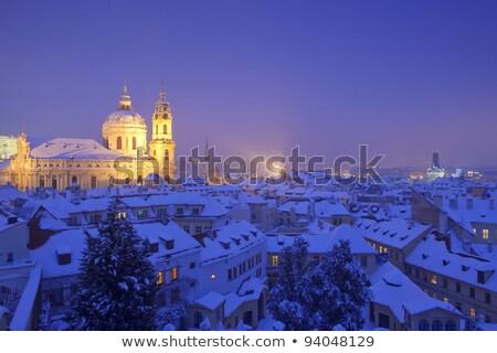Prag · kış · kale · köprü · kule · su - stok fotoğraf © courtyardpix