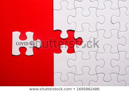 analysis   white word on blue puzzles stock photo © tashatuvango