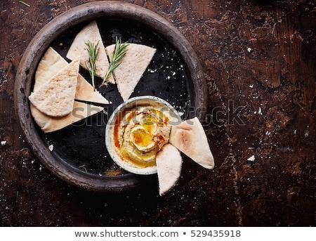 hummus dip with pita bread and vegetable stock photo © keko64