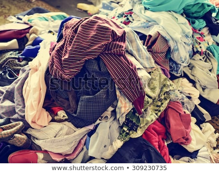 pile of used clothes on sale in a flea market, filtered Stock photo © nito