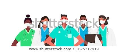 Медик красивый молодые позируют изолированный белый Сток-фото © hsfelix
