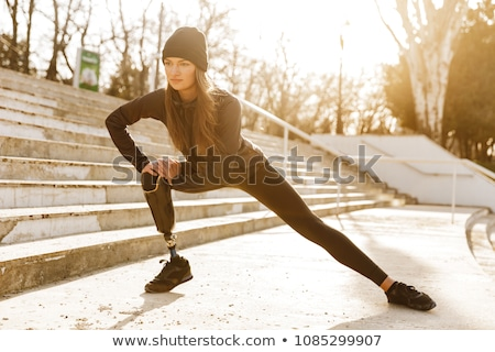 Femme prothèse illustration fille sport coucher du soleil Photo stock © adrenalina