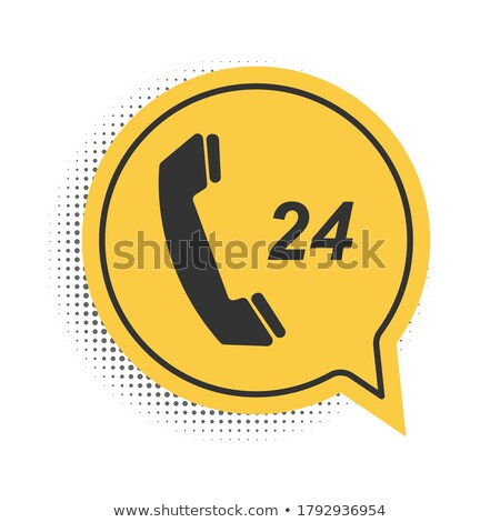 Stock photo: 24 Hours Helpline Yellow Vector Icon Button