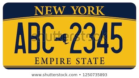 Нью-Йорк номерной знак цветами флаг иконки белый Сток-фото © Bigalbaloo
