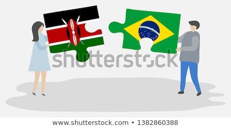Brazília Kenya zászlók puzzle izolált fehér Stock fotó © Istanbul2009