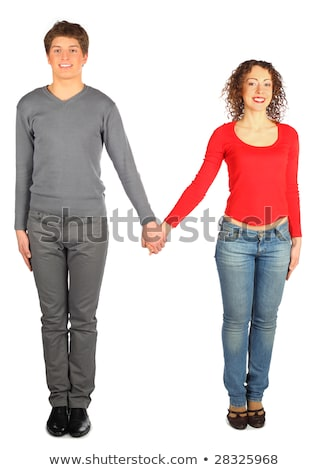 Stock photo: young man and woman represents  letter m