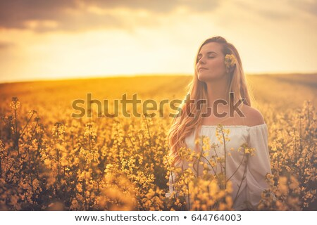 girl in rapeseed field stock photo © svetography