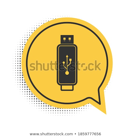 usb sign yellow vector icon design stock photo © rizwanali3d
