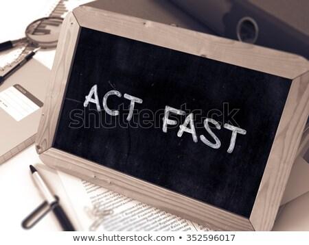 Закон быстро белый мелом доске Сток-фото © tashatuvango