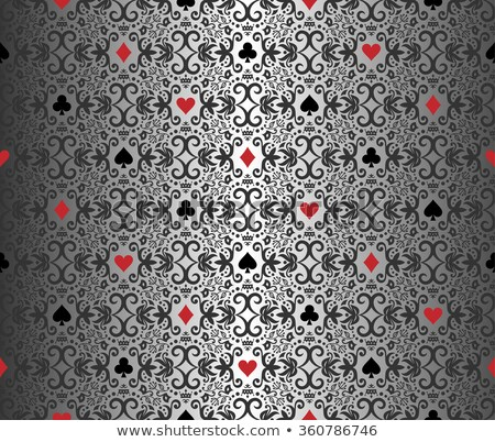 Silver poker background with damask pattern and cards symbols Stock photo © liliwhite
