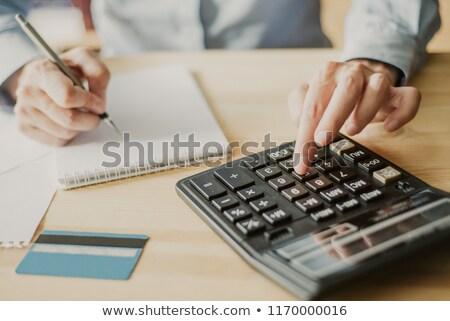 Stockfoto: Hand · calculator · notepad · voorraad · foto · geld