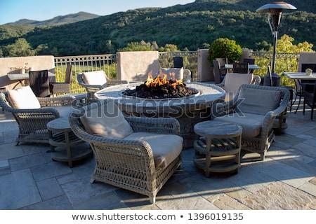 kényelmes · luxus · kő · belső · udvar · magasról · fotózva · kilátás - stock fotó © ozgur