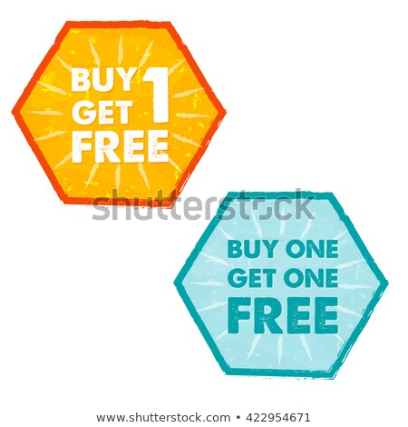 buy one get one free in grunge flat design hexagons labels stock photo © marinini