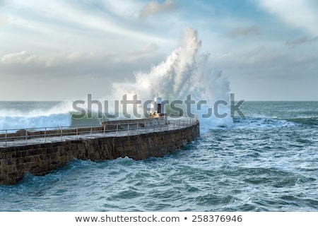 Portreath pier beach shore waves Stock photo © latent