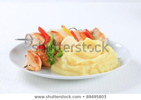 shish kebab and mashed potato stock photo © digifoodstock
