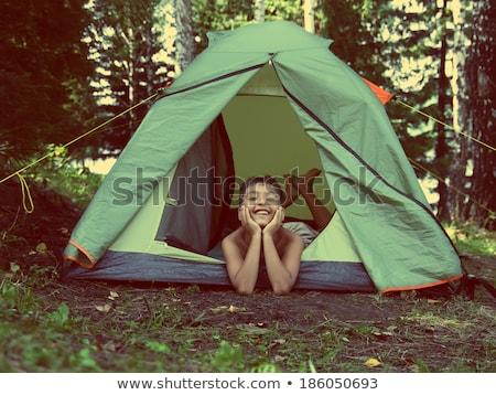 Foto stock: Crianças · camping · equipamento · ilustração · menina · crianças
