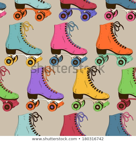 Seamless pattern of retro rollerskate shoes Stock photo © adrian_n