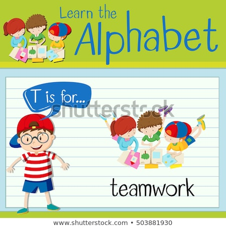 T betű csapatmunka illusztráció háttér művészet barátok Stock fotó © bluering