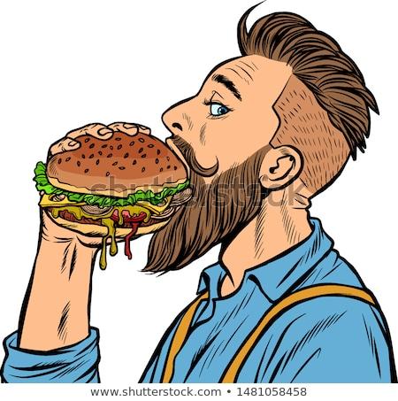 man · eten · hamburger · asian · jonge · man · werken - stockfoto © RAStudio
