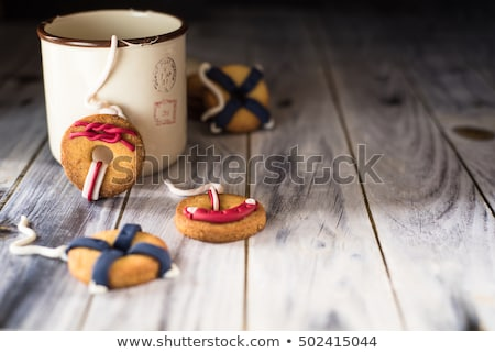 cookies with a life preserver decoration. Horizontal picture with space for writing stock photo © faustalavagna